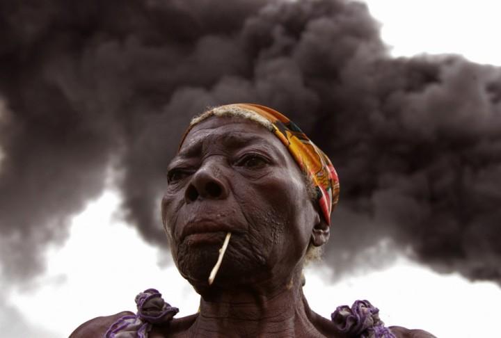 Woman Oil Spill